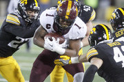 IOWA CITY, IOWA- OCTOBER 28: Running back Rodney Smith #1 of the Minnesota Golden Gophers runs in the third quarter into defensive back Amani Hooker #27, linebacker Josey Jewell #43, linebacker Bo Bower #41 and defensive back Jake Gervase #30 of the Iowa Hawkeyes on October 28, 2017 at Kinnick Stadium in Iowa City, Iowa.