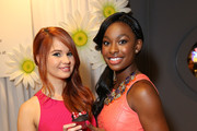 Actresses/Singers Debby Ryan and Coco Jones attend the Minnie Gifting Lounge during the 2013 Radio Disney Awards at Nokia Theatre L.A. Live on April 27, 2013 in Los Angeles, California.