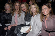 (L-R) Regina Halmich, Kerstin Linnartz, Xenia Seeberg, Tina Ruhland and Jana Ina Zarrella attend the Minx by Eva Lutz show during the Mercedes-Benz Fashion Week Berlin Autumn/Winter 2016 at Brandenburg Gate on January 20, 2016 in Berlin, Germany.