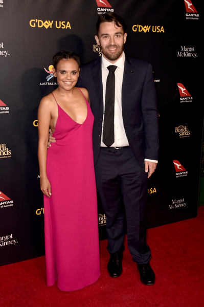 16th Annual G'Day USA Los Angeles Gala - Arrivals [red carpet,carpet,clothing,dress,premiere,formal wear,event,suit,fashion,flooring,arrivals,miranda tapsell,james colley,los angeles,usa,culver city,california,3labs,gday usa]