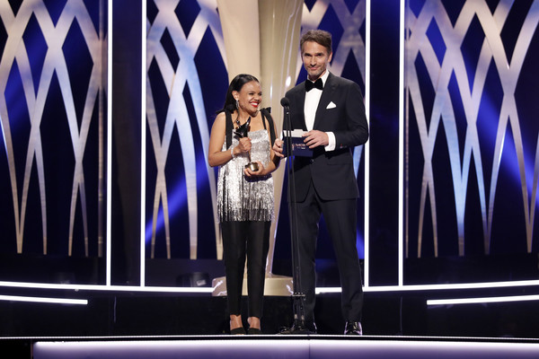 2019 AACTA Awards Presented By Foxtel | Ceremony [event,talent show,performance,speech,award ceremony,stage equipment,award,stage,competition,miranda tapsell,todd sampson,aacta award for best telefeature or mini series,australia,sydney,foxtel,the star,aacta awards,foxtel | ceremony]