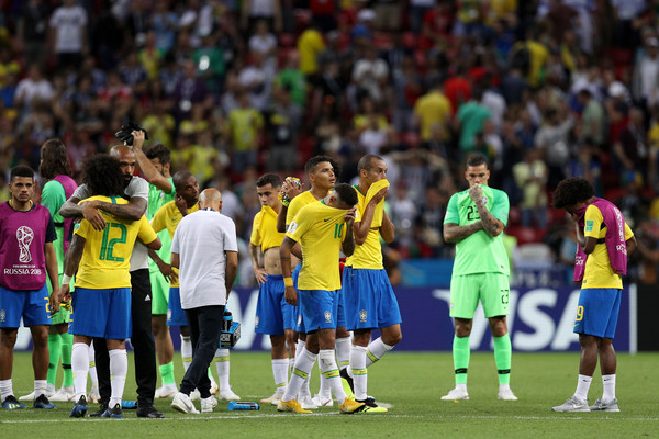 Brazil vs. Belgium: Quarter Final - 2018 FIFA World Cup Russia [player,sports,team sport,team,soccer player,sport venue,football player,football,ball game,soccer,assistant coach,marcelo,thierry henry,belgium,brazil,russia,kazan arena,quarter final - 2018 fifa world cup,match]