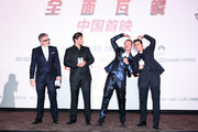 (L-R) Director Christopher McQuarrie, actors Henry Cavilll, Simon Pegg and Tom Cruise attend the 'Mission: Impossible - Fallout' fan screening at The Wanda CBD Cinema on August 29, 2018 in Beijing, China.