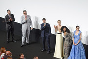(L-R) Jake Myers, Christopher McQuarrie, Tom Cruise, Vanessa Kirby, Angela Bassett and Michelle Monaghant attend the Global Premiere of 'Mission: Impossible - Fallout' at Palais de Chaillot on July 12, 2018 in Paris, France.