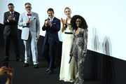 (L-R) Jake Myers, Christopher McQuarrie, Tom Cruise, Vanessa Kirby and Angela Bassett attend the Global Premiere of 'Mission: Impossible - Fallout' at Palais de Chaillot on July 12, 2018 in Paris, France.