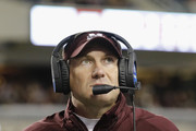 Head coach Dan Mullen of the Mississippi State Bulldogs  looks toward the scoreboard during a second quarter time out against the Texas A&M Aggies at Kyle Field on October 28, 2017 in College Station, Texas.