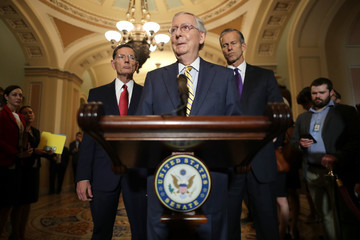 Mitch McConnell Senate Legislators Address The Media After Their Weekly Policy Luncheons