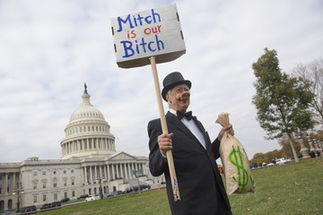 Mitch McConnell Congressional Democrats Speak at Rally Protesting GOP Tax Bill on Capitol Hill