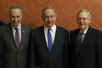 Mitch McConnell Senate Majority Leader McConnell And Sen. Minority Leader Schumer Meet With Israeli Prime Minister Netanyahu