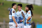 Rene Ranger of Northland chats to teammate Jack Debreczeni during the round two Mitre 10 Cup match between Northland and Auckland at Toll Stadium on August 26, 2018 in Whangarei, New Zealand.