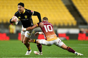 Ben Lam of Wellington is tackled by James Wilson of Southland during the round three Mitre 10 Cup match between Wellington and Southland at Westpac Stadium on August 31, 2018 in Wellington, New Zealand.