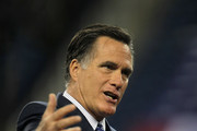 Republican presidential candidate, former Massachusetts Gov. Mitt Romney speaks to members of the Detroit Economic Club during a luncheon at Ford Field on February 24, 2012 in Detroit, Michigan. Michigan and Arizona residents will go to the polls on February 28 to vote for their choice for the Republican presidential nominee.