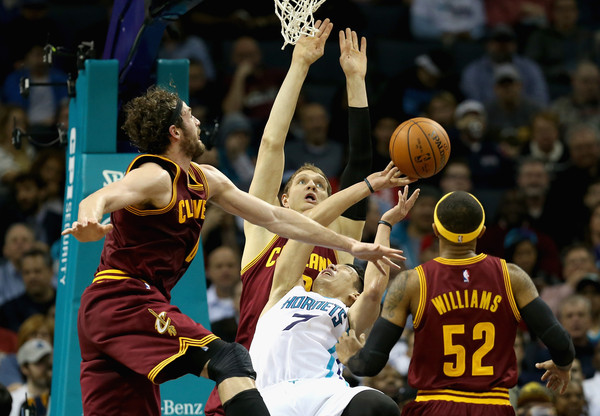 Cleveland Cavaliers v Charlotte Hornets [photograph,basketball,sports,basketball moves,basketball player,team sport,ball game,player,tournament,championship,teammates,timofey mozgov,user,mo williams,kevin love 0,note,cleveland cavaliers,charlotte hornets,game]