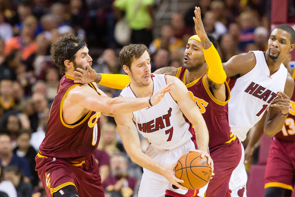 Miami Heat v Cleveland Cavaliers [basketball,sports,basketball player,team sport,ball game,player,tournament,basketball moves,basketball court,kevin love,mo williams,user,note,pressure,heat,cleveland,cleveland cavaliers,miami heat,half]