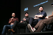"(L-R) Moderator Ramin Setoodeh, Robert Pattinson, Daniel Lopatin attend a Q&A for MoMA's Contenders Screening of ""Good Time"" at MoMA on December 1, 2017 in New York City."