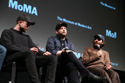 "(L-R) Robert Pattinson, Daniel Lopatin, Joshua Safdie attend a Q&A for MoMA's Contenders Screening of ""Good Time"" at MoMA on December 1, 2017 in New York City."