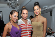 (L-R) TV personality Adrienne Bailon, radio personality Angie Martinez, and actress Julissa Bermudez attend Moet Rose Lounge Presents Nas' Life Is Good at Bagatelle on July 16, 2012 in New York City.