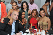 President of Island Def Jam Joie Manda, Adrienne Bailon; Miss Info, and Julissa Bermudez attend Moet Rose Lounge Presents Nas' Life Is Good at Bagatelle on July 16, 2012 in New York City.