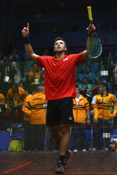 Mohamad Azlan Iskandar Mohamad Azlan Iskandar of Malaysia celebrates winning the gold medal of the Men's Individual Final squash match against Khan Aamir Atlas of Pakistan at Asian Games Town Gymnasium during day nine of the 16th Asian Games Guangzhou 2010 on November 21, 2010 in Guangzhou, China.