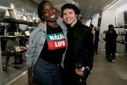 """Adepero Oduye (L) and Elena Korzhenevich attend the Moleskine Foundation """"I had a dream"""" Exhibition Opening at The Africa Center on May 30, 2019 in New York City."""