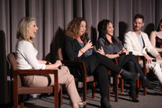"""(L-R) Ali Larter, Kristi Jacobson, Ellen Latham, and Kevin Keith speak onstage during """"Momentum Shift"""" Film Premiere Highlights Orangetheory's Inspiring, Female Founder Story And Other Tales Of The Power Of Community at Directors Guild Of America on October 21, 2019 in Los Angeles, California."""