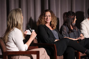"""(L-R) Ali Larter and Kristi Jacobson speak onstage during """"Momentum Shift"""" Film Premiere Highlights Orangetheory's Inspiring, Female Founder Story And Other Tales Of The Power Of Community at Directors Guild Of America on October 21, 2019 in Los Angeles, California."""