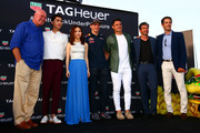 (L-R) Jean-Claude Biver, CEO of TAG Heuer, actor Li Yifeng, singer G.E.M., Max Verstappen of Netherlands and Red Bull Racing, Dan Carter, Patrick Dempsey and Bruno Senna attend a TAG Heuer event in Port Hercue de Monaco on May 28, 2016 in Monaco, Monaco.