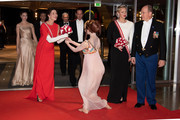 (L-R) Beatrice Casiraghi,Princess Caroline of Hanover, Andrea Casiraghi, Princess Charlene of Monaco and Prince Albert II of Monaco attend a Gala during Monaco National Day on November 19, 2018 in Monte-Carlo, Monaco.