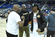(L-R) Chris Spencer, Marcellus Wiley and Snoop Dogg attend the Monster Energy $50K Charity Challenge Celebrity Basketball Game at UCLA's Pauley Pavilion on July 08, 2019 in Westwood, California.