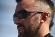 Austin Dillon, driver of the #3 American Ethanol e15 Chevrolet, is introduced during the Monster Energy NASCAR Cup Series 1000Bulbs.com 500 at Talladega Superspeedway on October 14, 2018 in Talladega, Alabama.