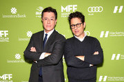 Stephen Colbert (L) and J.J. Abrams attend Montclair Film Festival presents Celebrity Nerd-Off: Stephen Colbert & J.J. Abrams on November 21, 2015 in Newark, New Jersey.