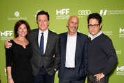 (L-R) Vice-Chairman of the Board, MFF Evelyn Colbert, Stephen Colbert, Chairman of the Board, MFF Bob Feinberg and J.J. Abrams attend Montclair Film Festival Presents Celebrity Nerd-Off: Stephen Colbert & J.J. Abrams  on November 21, 2015 in Newark, New Jersey.