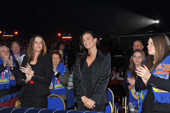In this handout image provided by the Monaco Centre de Presse, Pauline Ducruet (L), Princess Stephanie of Monaco (C) and Camille Gottlieb attend the 36th Monte-Carlo International Circus Festival on January 20, 2012 in Monte-Carlo, Monaco.