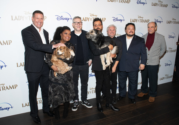"""Disney+'s """"Lady And The Tramp"""" New York Screening [lady and the tramp,event,award,team,tourism,kevin a. mayer,monte,brigham taylor,charlie bean,justin theroux,yvette nicole brown,l-r,new york,disney]"""