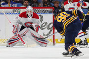 Antti Niemi #37 of the Montreal Canadiens makes the save against Ryan O'Reilly #90 of the Buffalo Sabres during the first period at KeyBank Center on March 23, 2018 in Buffalo, New York.