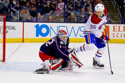 Sergei Bobrovsky #72 of the Columbus Blue Jackets stops a shot from Andrew Shaw #65 of the Montreal Canadiens during the third period on March 12, 2018 at Nationwide Arena in Columbus, Ohio. Columbus defeated Montreal 5-2.