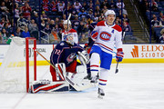 Brendan Gallagher #11 of the Montreal Canadiens celebrates after beating Sergei Bobrovsky #72 of the Columbus Blue Jackets for a goal during the first period on March 12, 2018 at Nationwide Arena in Columbus, Ohio.