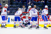 Antti Niemi #37 of the Montreal Canadiens warms up prior to the start of the gmae against the Columbus Blue Jackets on March 12, 2018 at Nationwide Arena in Columbus, Ohio.