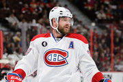 Andrei Markov #79 of the Montreal Canadiens looks on in Game Six of the Eastern Conference Quarterfinals against the Ottawa Senators during the 2015 NHL Stanley Cup Playoffs at Canadian Tire Centre on April 26, 2015 in Ottawa, Ontario, Canada. The Montreal Canadiens eliminated the Ottawa Senators by defeating them 2-0 and move to the next round of the Stanley Cup Playoffs.