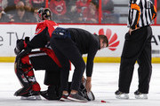 Craig Anderson #41 of the Ottawa Senators kneels on the ice as his skate blade is replaced in the second period in a game against the Montreal Canadiens at Canadian Tire Centre on October 20, 2018 in Ottawa, Ontario, Canada.