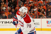 Andrei Markov #79 of the Montreal Canadiens looks to pass in the first period against the Philadelphia Flyers on October 11, 2014 at the Wells Fargo Center in Philadelphia, Pennsylvania.