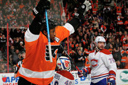 Wayne Simmonds #17 of the Philadelphia Flyers celebrates his goal in the second period as Ben Scrivens #40 and Andrei Markov #79 of the Montreal Canadiens look on at the Wells Fargo Center on January 5, 2016 in Philadelphia, Pennsylvania.