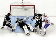 Marc-Andre Fleury #29 of the Pittsburgh Penguins makes a save on Brendan Gallagher #11 of the Montreal Canadiens during the game at Consol Energy Center on October 13, 2015 in Pittsburgh, Pennsylvania.