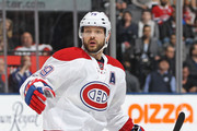 Andrei Markov #79 of the Montreal Canadiens skates against the Toronto Maple Leafs during an NHL game at the Air Canada Centre on February 25, 2017 in Toronto, Ontario, Canada. The Canadiens defeated the Maple Leafs 3-2 in overtime.