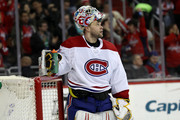 Antti Niemi #37 of the Montreal Canadiens looks on after giving up a second period goal to the Washington Capitals at Capital One Arena on January 19, 2018 in Washington, DC.