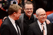 Justus von Dohnányi,Bob Balaban and Matt Damon and attends 'The Monuments Men' premiere during 64th Berlinale International Film Festival at Berlinale Palast on February 8, 2014 in Berlin, Germany.