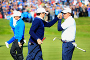 Keegan Bradley and Phil Mickelson (R) of the United States celebrate a putt on the 16th green during the Morning Fourballs of the 2014 Ryder Cup on the PGA Centenary course at the Gleneagles Hotel on September 26, 2014 in Auchterarder, Scotland.
