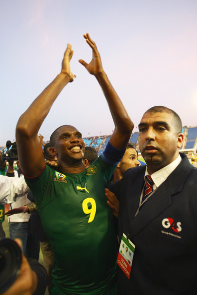 Samuel Eto'o of Cameroon celebrates his sides 2-0 victory and qualification during the Morocco v Cameroon FIFA2010 World Cup  Group A qualifying match at the Complexe Sportif on November 14, 2009 in Fes, Morocco.