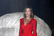 Elisabetta Canalis attends Moschino Menswear Collection Autumn/Winter 2019/20 at Cinecitta on January 08, 2019 in Rome, Italy.