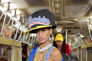 Joan Smalls walks the runway during Moschino Prefall 2020 Runway Show at New York Transit Museum on December 09, 2019 in Brooklyn City.